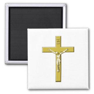 Crucifixo no ouro ímã quadrado