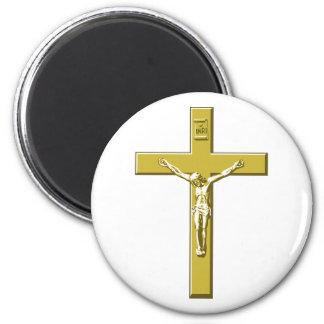 Crucifixo no ouro ímã redondo 5.08cm
