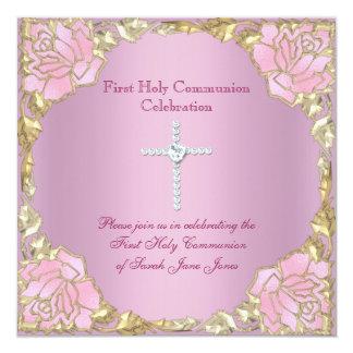 Cruz 2 da prata do ouro do rosa do comunhão convite quadrado 13.35 x 13.35cm