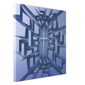 Cruz abstrata do cristão 3D Impressão Em Tela Canvas