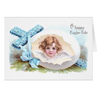 Cruz, anjo e páscoa religiosa do vintage do ovo cartão comemorativo