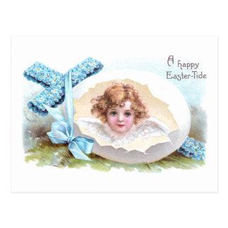 Cruz, anjo e páscoa religiosa do vintage do ovo cartão postal