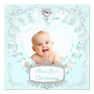 Cruz azul do baptismo do batismo do bebé ou da convite quadrado 13.35 x 13.35cm