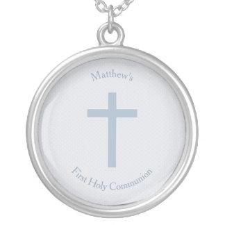 Cruz azul Pastel do comunhão Colar Banhado A Prata