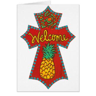 Cruz bem-vinda do abacaxi cartões
