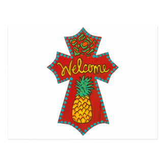 Cruz bem-vinda do abacaxi cartao postal