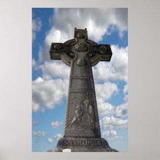 cruz celta memorável do Columba cinzento do santo Impressão