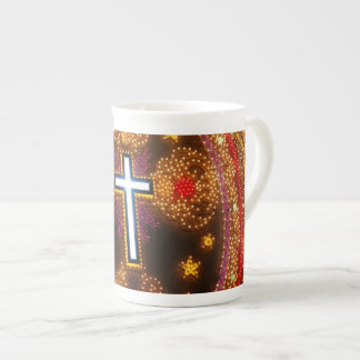 Cruz colorida das luzes bone china mug