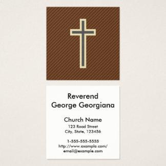 Cruz cristã bege & cinzenta em listras de Brown Cartão De Visitas Quadrado
