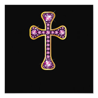 """Cruz cristã com as pedras da """"grandada"""" convite quadrado 13.35 x 13.35cm"""