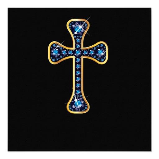 """Cruz cristã com as pedras da """"safira"""" convite personalizado"""