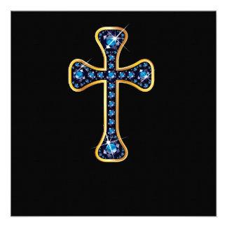 Cruz cristã com as pedras da safira convite personalizado
