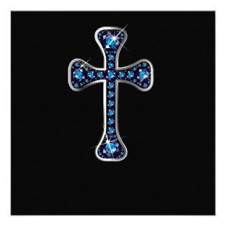 Cruz cristã com as pedras da safira convite personalizados