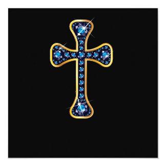 """Cruz cristã com as pedras da """"safira"""" convite quadrado 13.35 x 13.35cm"""