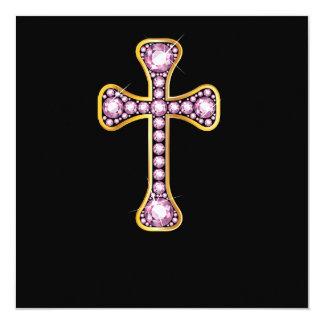 """Cruz cristã com """"as pedras de quartzo cor-de-rosa"""" convite quadrado 13.35 x 13.35cm"""