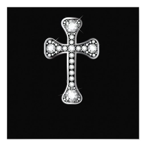 """Cruz cristã com as pedras do """"diamante"""" convites"""