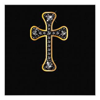 Cruz cristã com as pedras do ônix convite