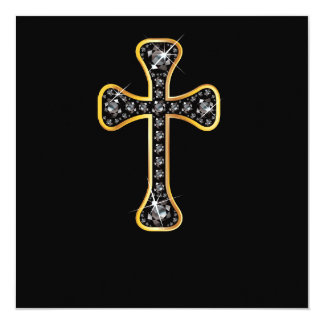 """Cruz cristã com as pedras do """"ônix"""" convite quadrado 13.35 x 13.35cm"""