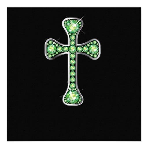 """Cruz cristã com as pedras do """"Peridot"""" Convites Personalizado"""