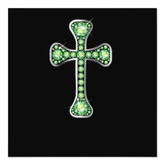 """Cruz cristã com as pedras do """"Peridot"""" Convite Quadrado 13.35 X 13.35cm"""