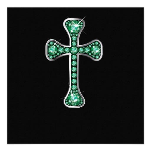 "Cruz cristã com as pedras ""esmeraldas"" convites personalizado"