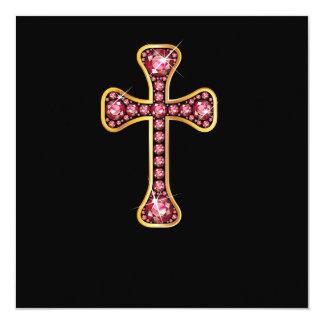 """Cruz cristã com as pedras """"esmeraldas"""" convite personalizado"""