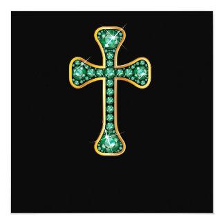 """Cruz cristã com as pedras """"esmeraldas"""" convite quadrado 13.35 x 13.35cm"""