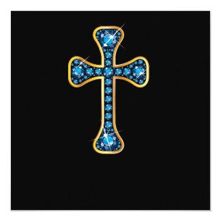 Cruz cristã com pedras de água-marinha convite quadrado 13.35 x 13.35cm