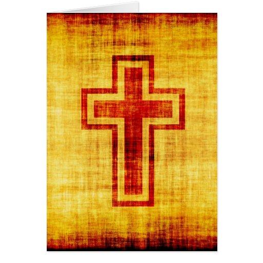 Cruz cristã da fé no papel de pergaminho cartão