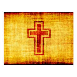 Cruz cristã da fé no papel de pergaminho cartão postal