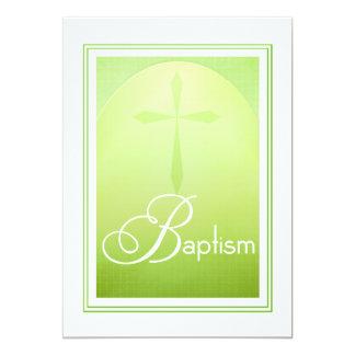 Cruz cristã do baptismo no verde convite 12.7 x 17.78cm