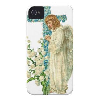 Cruz cristã florescida azul capinha iPhone 4