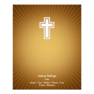Cruz cristã no fundo alaranjado panfleto personalizados