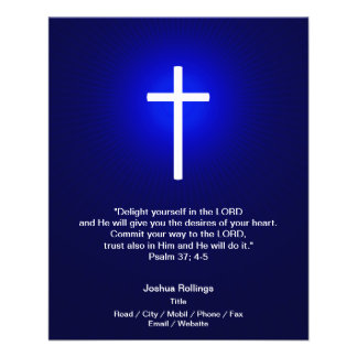 Cruz cristã no fundo azul escuro panfleto