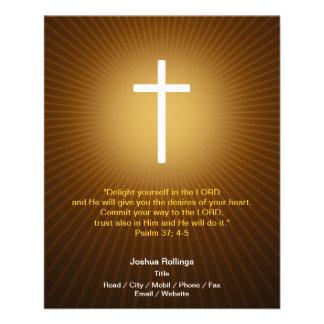 Cruz cristã no fundo azul flyer 11.43 x 14.22cm