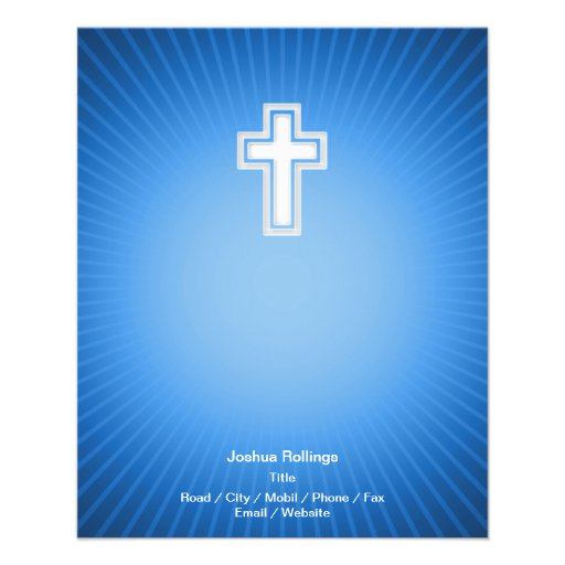 Cruz cristã no fundo azul panfletos personalizados