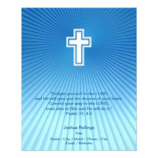 Cruz cristã no fundo azul panfletos coloridos