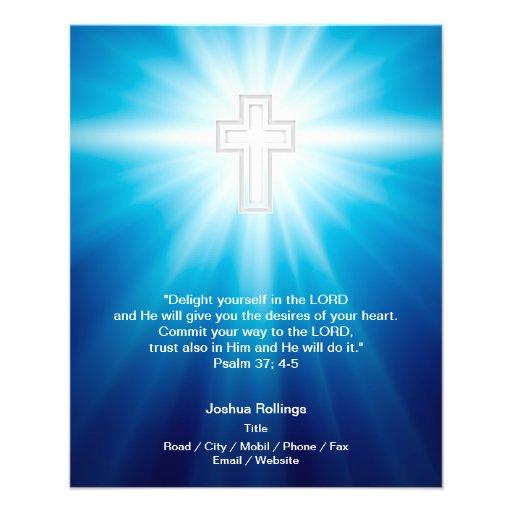 Cruz cristã no fundo azul panfletos personalizado