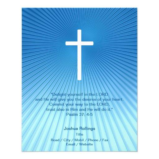 Cruz cristã no fundo azul panfleto personalizado