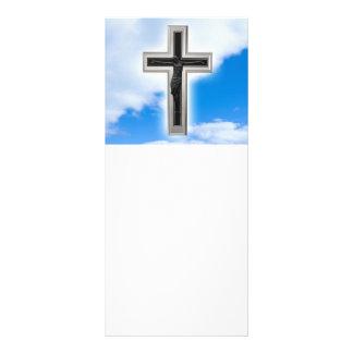 Cruz cristã no fundo do céu azul 10.16 x 22.86cm panfleto