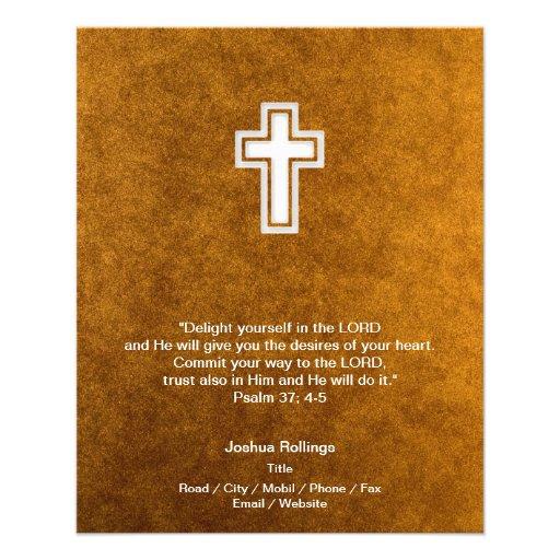 Cruz cristã no fundo do ouro panfleto personalizado
