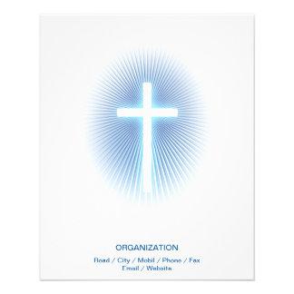 Cruz cristã no fundo eliptical azul panfleto