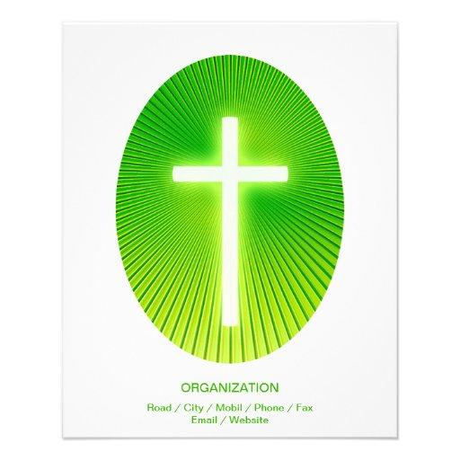Cruz cristã no fundo eliptical verde panfleto coloridos