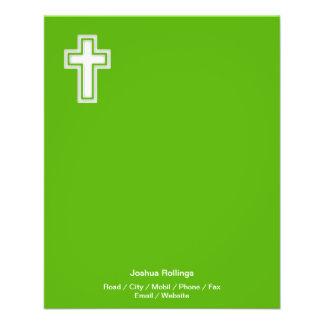 Cruz cristã no fundo verde flyer 11.43 x 14.22cm