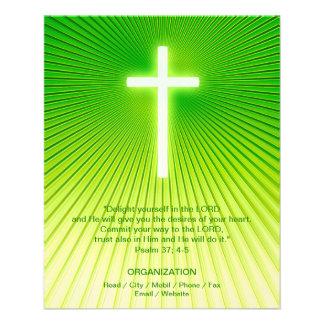 Cruz cristã no fundo verde panfleto