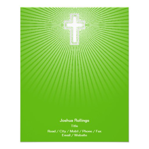 Cruz cristã no fundo verde panfleto personalizado