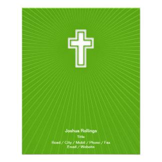 Cruz cristã no fundo verde panfletos personalizado