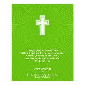 Cruz cristã no fundo verde panfleto coloridos