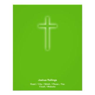 Cruz cristã no fundo verde panfletos