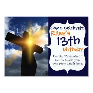 Cruz cristã no serviço do nascer do sol da páscoa convite 12.7 x 17.78cm